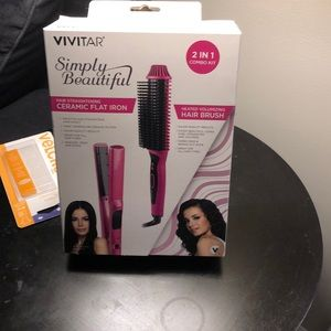 Accessories - 2in 1 Flat iron and volume and hairbrush together